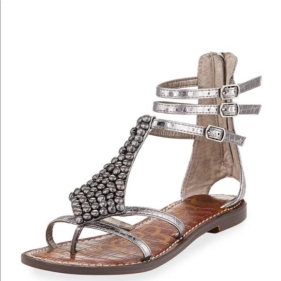 0d500bf4565 Sam Edelman Ginger Pewter Gladiator Beaded Sandals.  M 5b5d0b4b8869f779ab414124